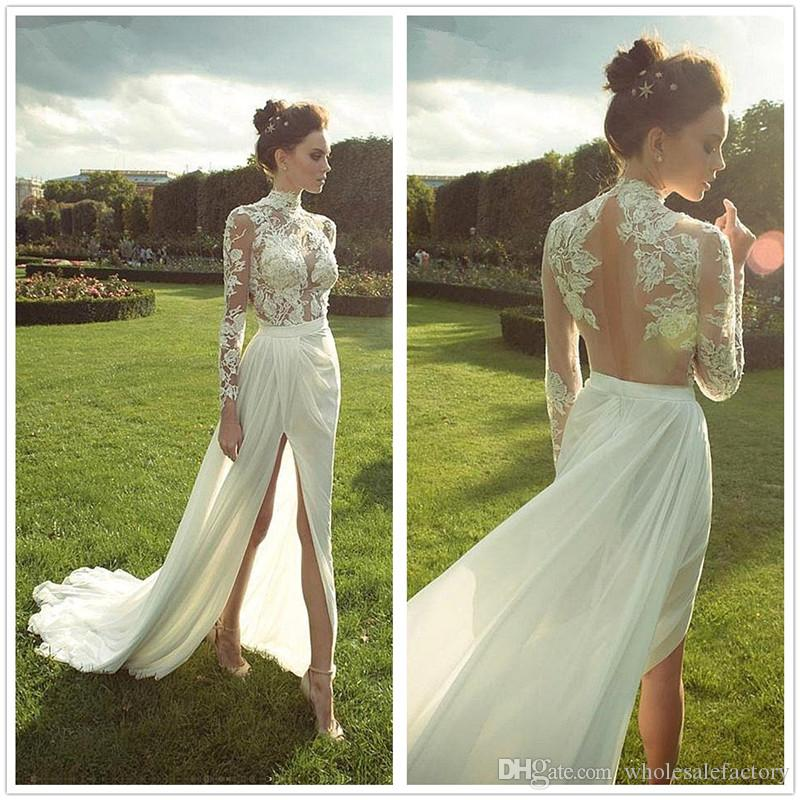 487d71b0c08 2018 Sheer High Neck Long Sleeves Chiffon Sheath Wedding Dresses Lace Top  Ruched Split Wedding Gowns Bridal Dresses Robe De Mariage A Wedding Dress  ...