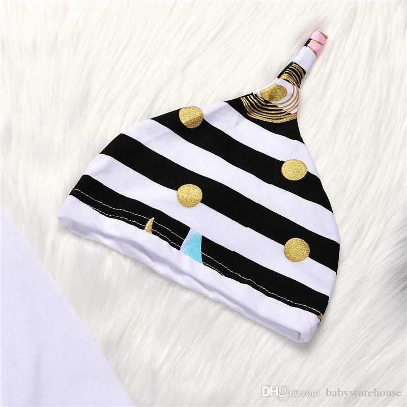 New Arrival Baby Girls Clothing Set Little Sister Long Sleeve Romper + Striped Pants + Hat + Headband Girls Set Newborn Baby Clothes
