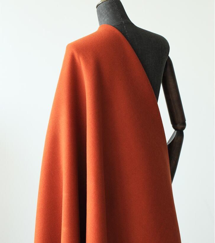 Tissu en laine à rayures double face orange, européen, américain, haut de gamme, mode élégante pour femmes, pour pardessus en tissu Tissu en laine avec jupe en cachemire B171