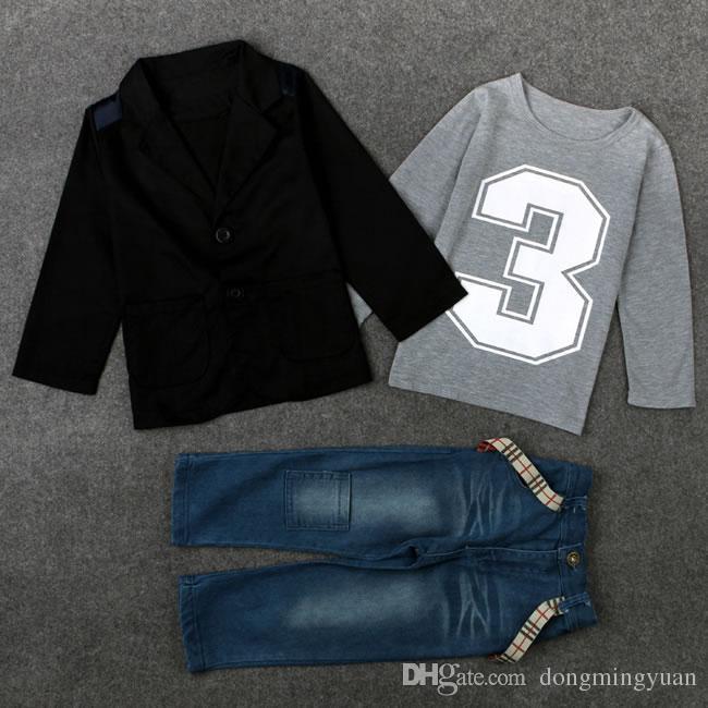 New chegada do bebé Denim Boutique Define Vestuário Outono Inverno Preto Colete Top Jacket + Camiseta + Jeans terno para Kit Crianças Conjuntos