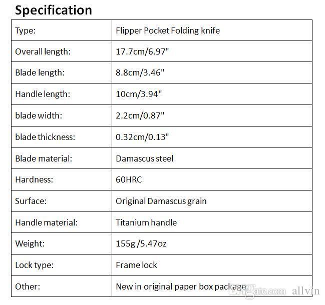 High End 2016 il nuovo disegno di Damasco Flipper lama piegante 60HRC della lama della maniglia di titanio TC4 EDC coltello da tasca pieghevole coltelli regalo
