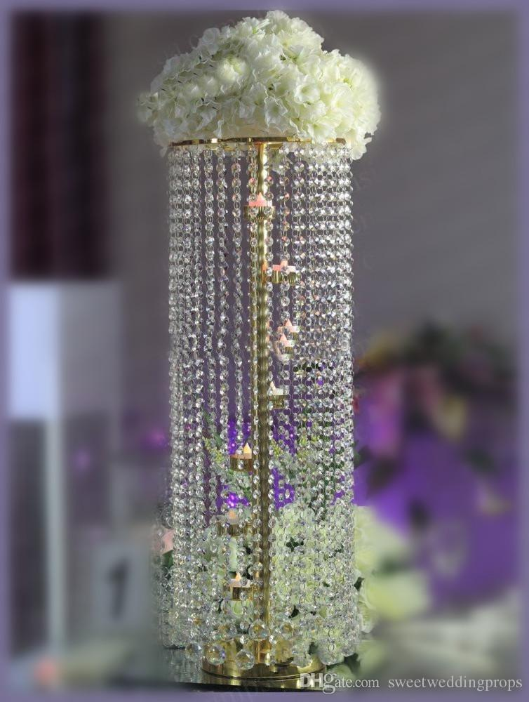 Bling golden wedding table centerpieces hanging crystal in event see larger image junglespirit Image collections