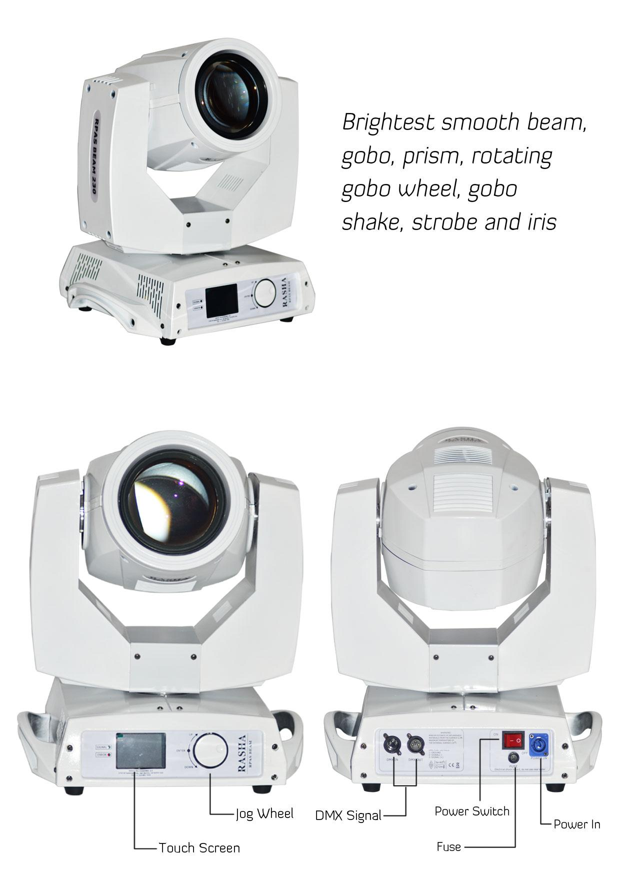 Rasha High Quality 230W Sharpy Moving Head Beam Light 20CH 7R Stage Moving Head Light With 2in1 Flight Road Case