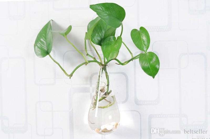 Clair mur d'escalade verre fleur vase eau gouttelette forme air plantes terrarium plantes vertes suspendus vases pour Noël ornements décor à la maison