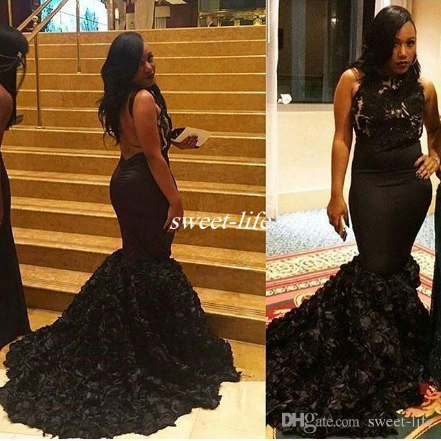 6e9008efe51 ... Mermaid Prom Dresses With Rose Gold Flowers Backless Lace Top 2016  Gorgeous Long Evening Gowns Celebrity Party Dress Aso Ebi Pink Prom Dress  Plus Size ...