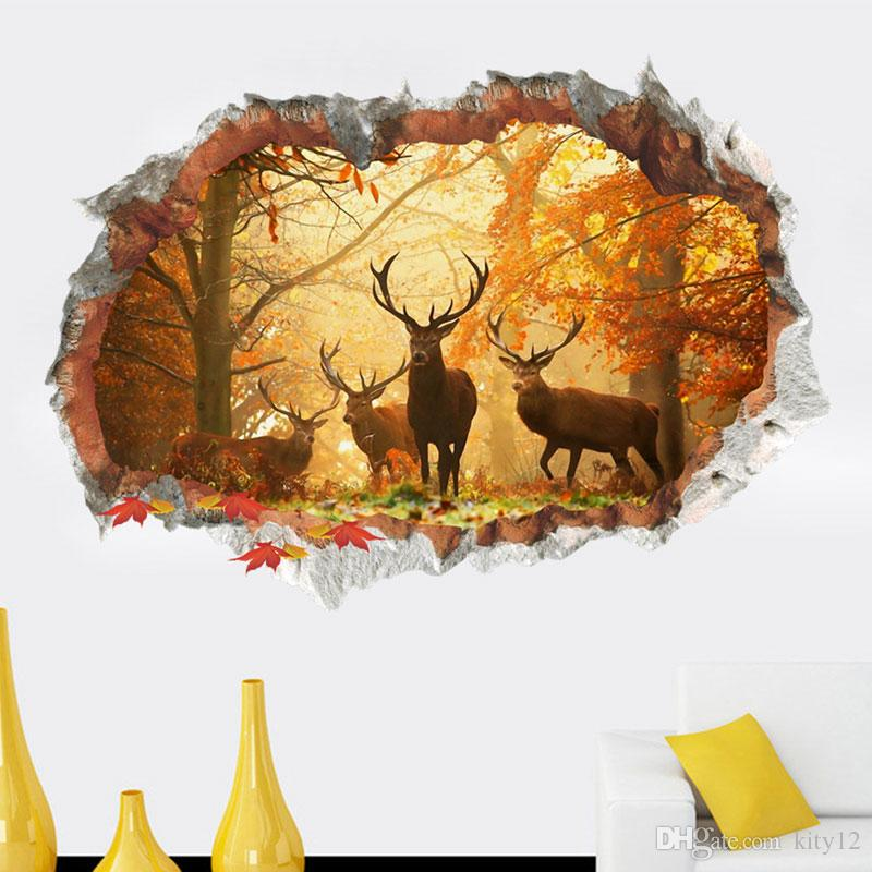 Free Shipping 3D elk Deer Playground Broken Wall Hole Window View Home Decals Wall Stickers for Room Home Decor Mural