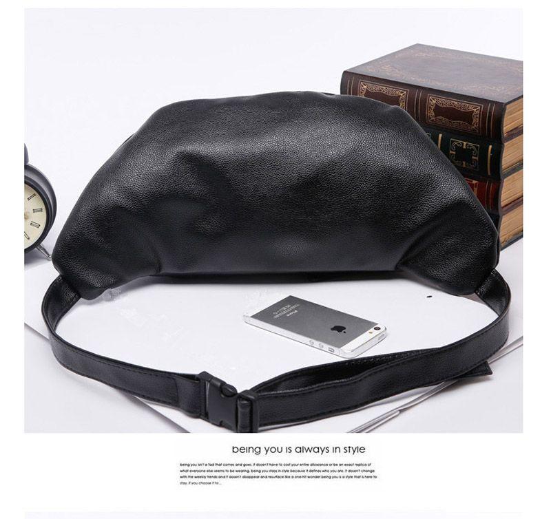 2017 New Men PU Black With Rivet Funny Waist Bags Crossbody Shoulder Messenger Bags 30*11*18cm