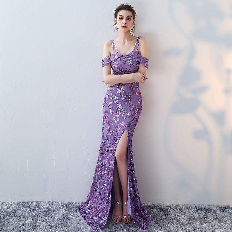 Mermaid Designer Evening Gowns Side Split Purple Prom Dress Sexy ...