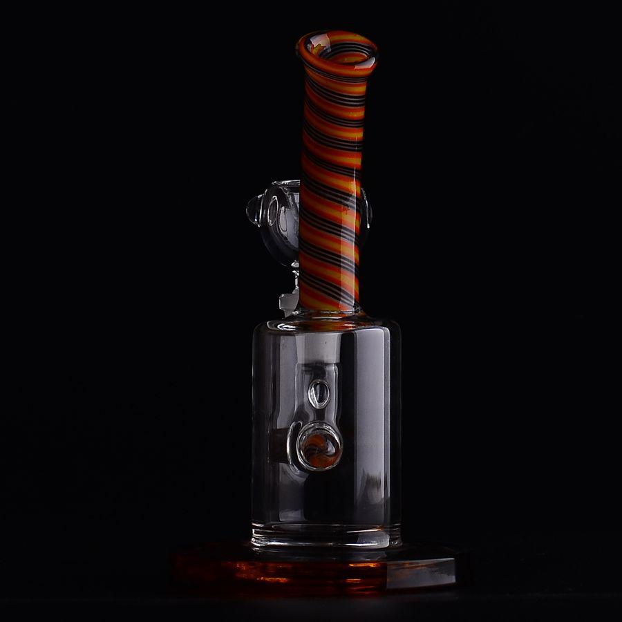 M09 160mm Mini Bubbler Glass Ash Catcher en línea Percolator Water Pipe Oil Rig Bong Base de anillo de Color ámbar con 14 # Joint
