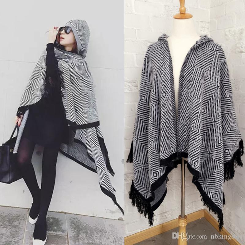 2018 Lady Winter Geometry Hooded Poncho Knitted Cardigan Cloak Cape ...
