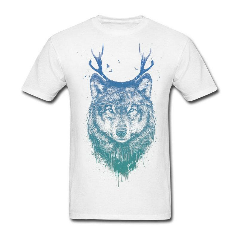 e0c09110b For Sale Teenage Deer Wolf Tee Shirts Men 3D Big Size Round Collar Home  Wear T Shirts Teenage Crewneck Shirt White Designer T Shirts Clever T Shirt  From ...