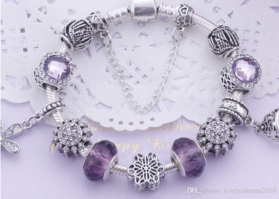 Mode 925 Sterling Silver Purple Cristal Murano Verre Lampwork Charme Européen Perles Couronne Dangle Convient Pandora Charme Bracelets Collier