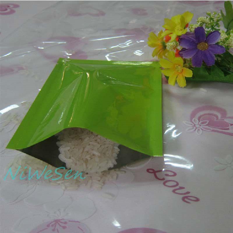 7x10cm, /pack green metallic aluminum plating plain pocket-top open heat sealable aluminum foil flat bag, snack bags