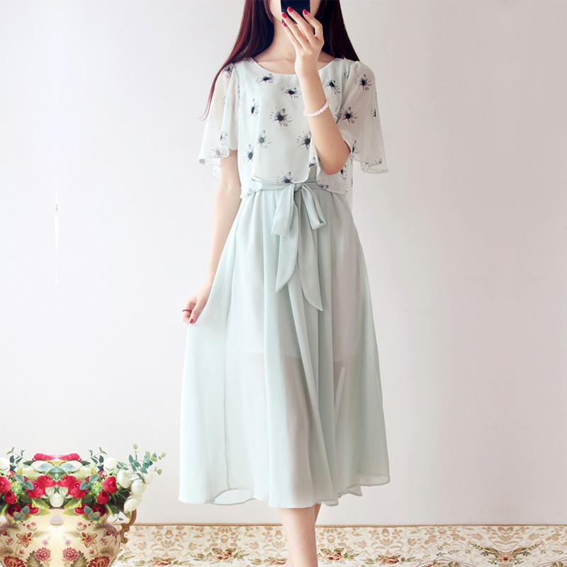 1d5192fb014 Wholesale- 2016 Summer Japanese Mori Girl Princess Fairy Floral Print Dress  Women Art Small Fresh Sweet Chiffon Vintage Gowns Dresses X009