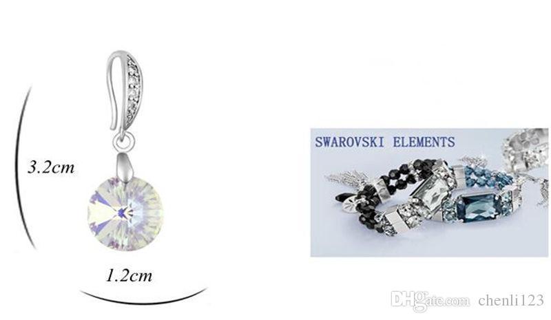Orecchini a goccia femminile rotondo gioielli moda 2017 Nuovo cristallo da Swarovski Elements orecchini forati le donne placcato in oro bianco 18694