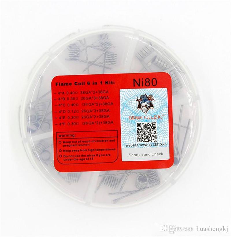 악마 살인자 6 in 1 NI80 화염 코일 상자 Pre Build 전선 6mm Nichrome 80 재질 DIY RDA 고주파 용 Prebuild Coils