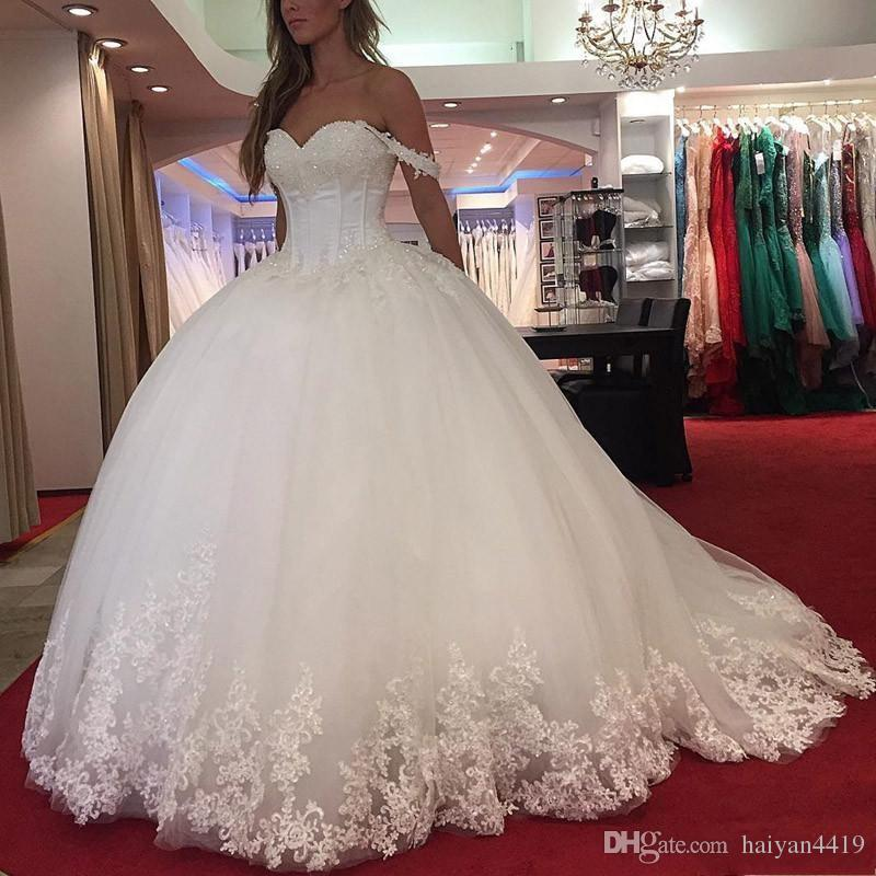 2019 New Arabic Ball Gown Wedding Dresses Sweetheart Lace Appliques Crystal Beaded Off Shoulder Puffy Vestido Plus Size Formal Bridal Gowns