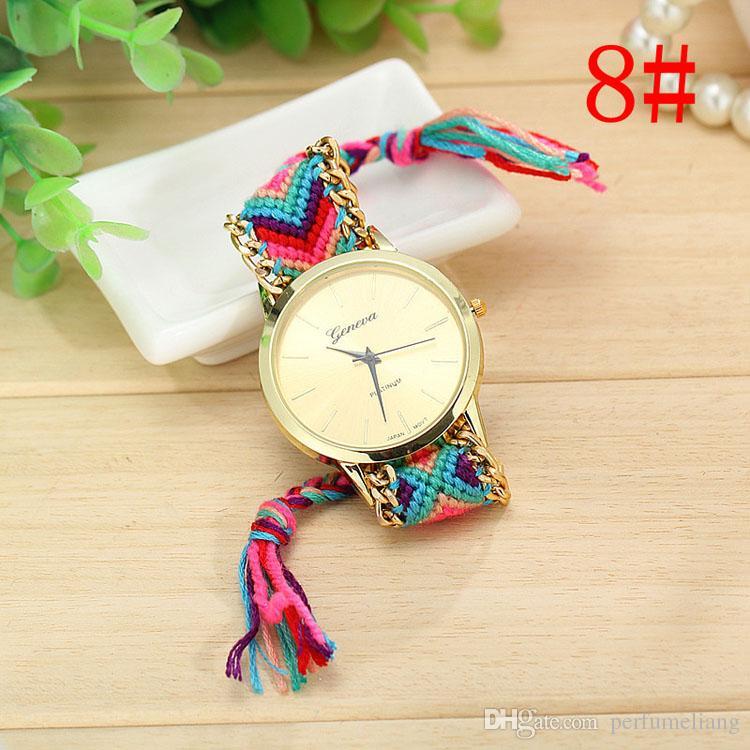 Venta caliente Colorido Reloj de Cuerda Trenzada de Las Mujeres de La Vendimia DIY de Cuarzo de Lana Reloj de Cadena de Metal Ocasional Vestido Relogio Reloj ZA0024