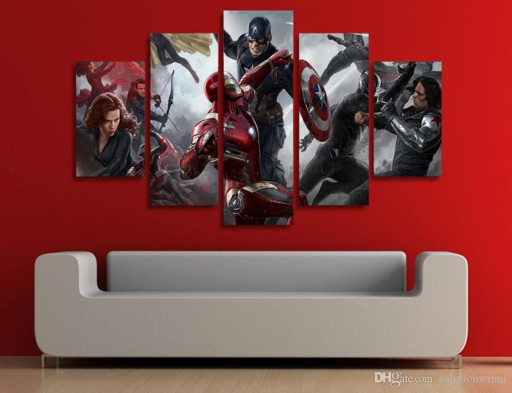 Captain America Wall Art best 5 panel hd printed captain america civil war painting canvas