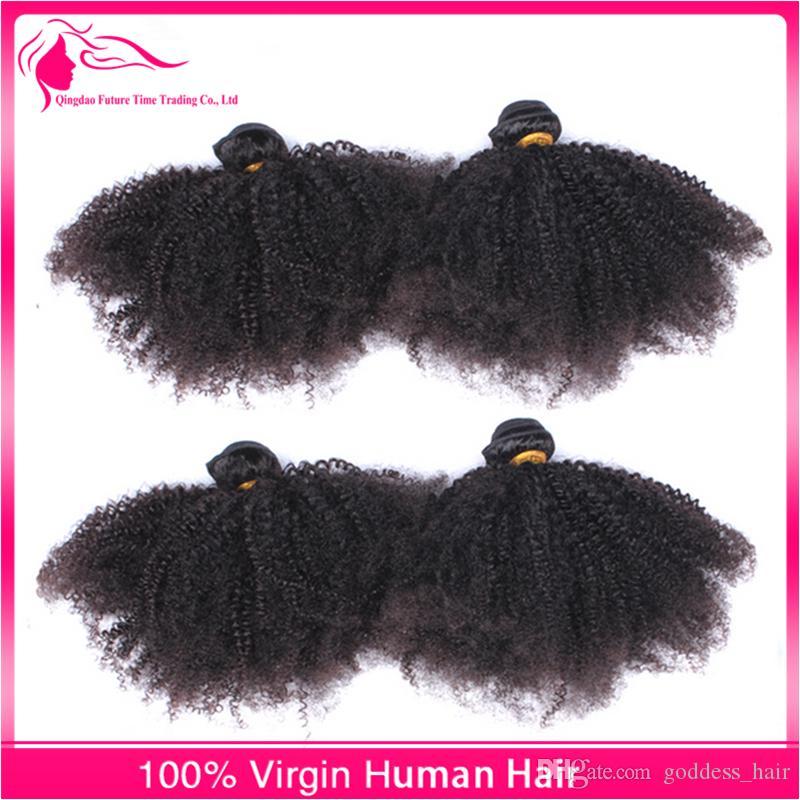 9A Afro Kinky Cheveux Bouclés Faisceaux Avec Fermeture Frontale Dentelle Partie Libre Trois Partie Oreille À La Dentelle Frontale Avec Paquets /