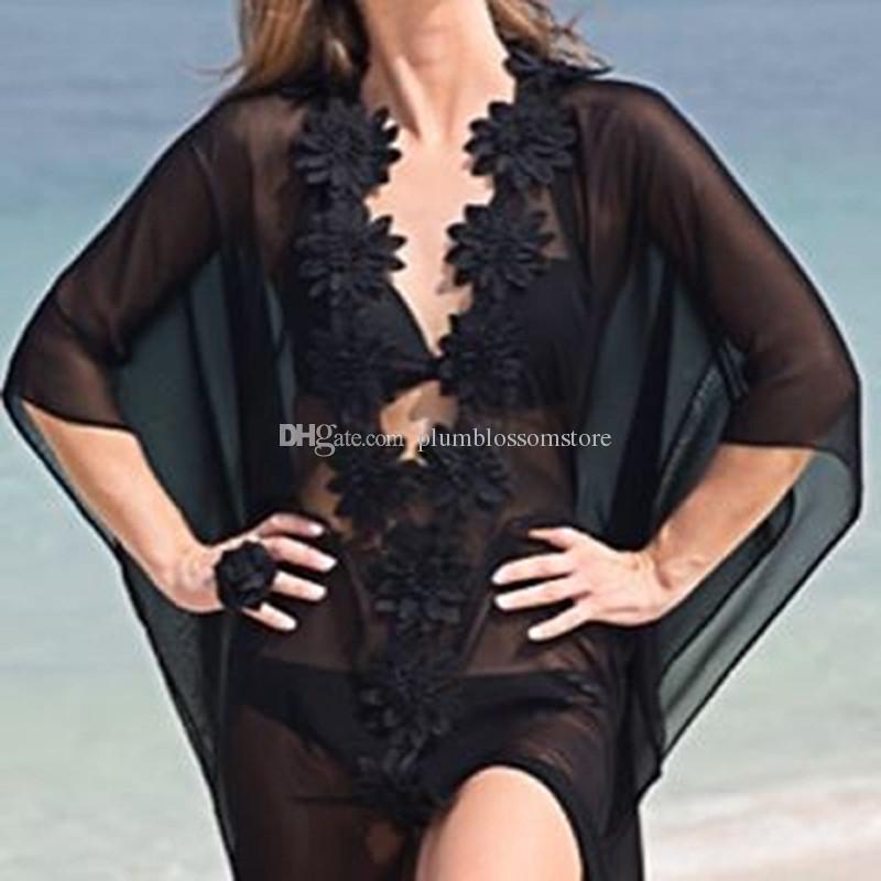 바닷가 비키니 덮개 ups 백색 꽃 시퐁 맥시 복장 여름 긴 블라우스 투명한 셔츠 여자 선스크린 수영복 해변 휴일 비치웨어