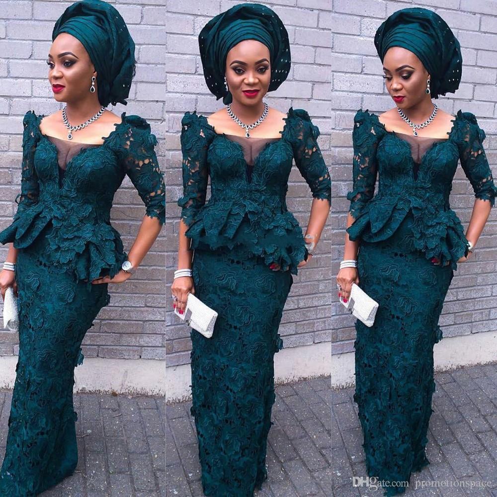 Mode Vert Robe De Soirée Carré Cou Gaine Sexy Robes De Bal 2016 Nouveaux Designs Style Africain Demi Manches Dentelle Robes De Soirée