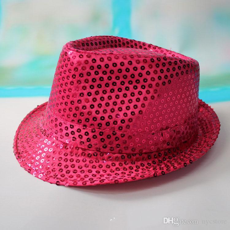 9 cor meninas meninos bling chapéus quentes do bebê crianças de algodão Jazz Cap legal fotografia Top chapéu de sol de verão lantejoulas Trilby Chapéu Floppy para 2-8 T
