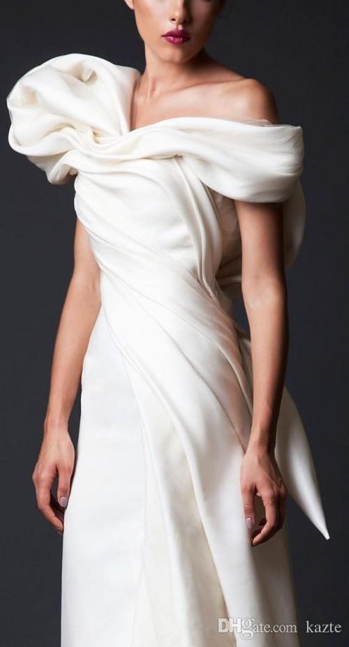 Krikor Jabotian Unique Design Evening Dresses White Long Court Train Ruffles Backless prom Gowns With Big Bow dubai arabic formal wear