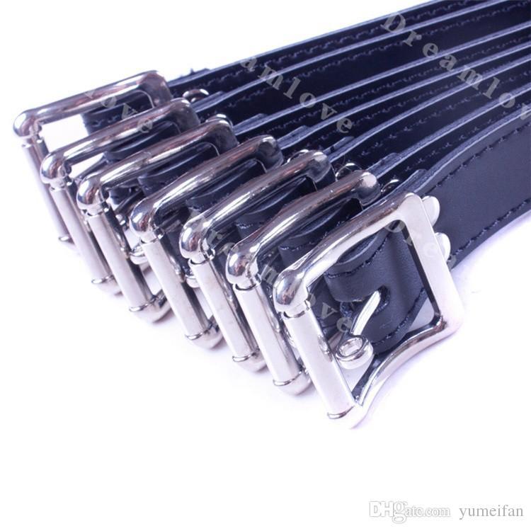 Klassische Abschließbare Schnallen Leder Bondage Straps 7 Größen Set Locking Schnallen Sex Bondage Gear für Männer und Frauen Unisex