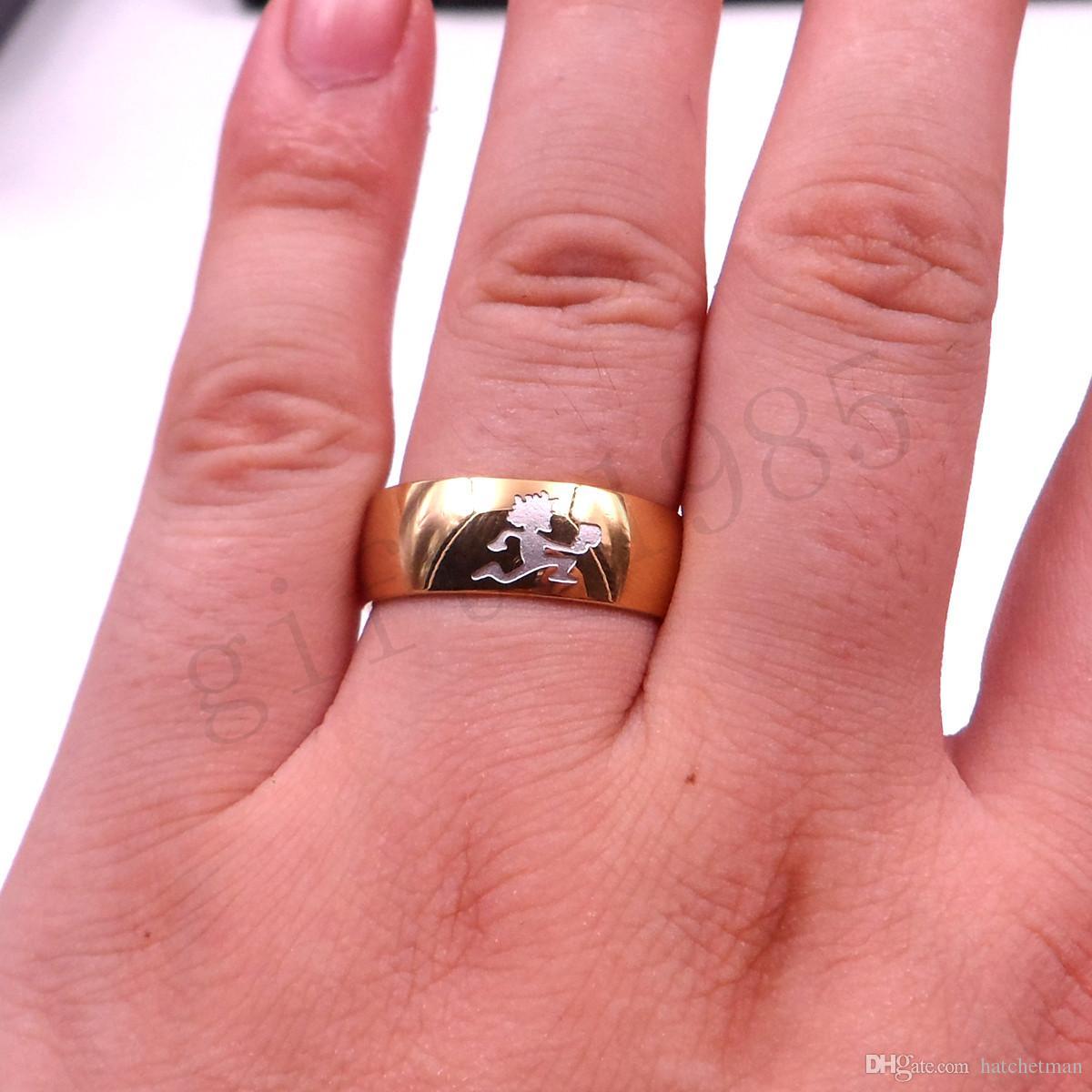 HATCHETMAN GIRL GOLDEN RING STAINLESS STEEL ICP Gravura TWIZTID ALTAMENTE POLIDO High quality polido, banhado a ouro anel