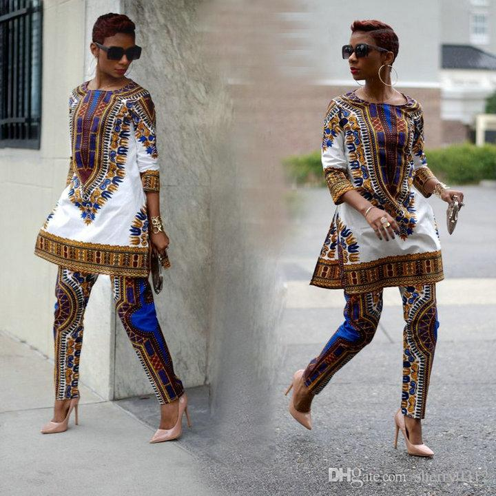 3591b298eea48a 2019 2018 New African Fashion Design Dress Suits Women Traditional Print  Dashiki National Half Sleeved Two Pieces Set Jumpsuits S XXXL Big Size From  ...