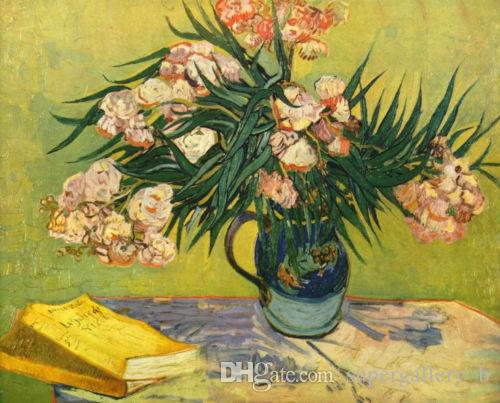 DHgate.com & Vincent Van Gogh still life nice flowers in vase with booksPure Handicrafts Art oil painting On High Quality Canvas in Custom Sizes