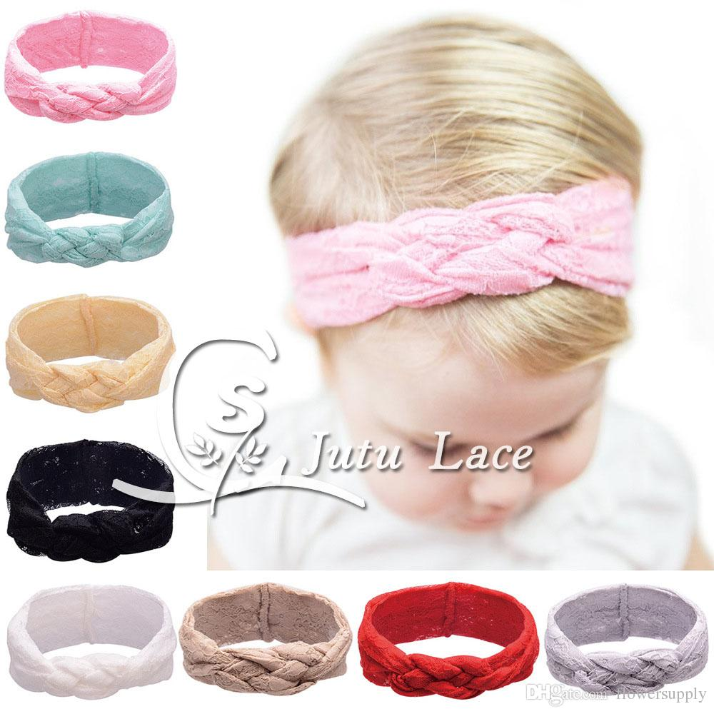 Infant full lace fabric Headbands Girl Lace ribbon Headwear, mesh style mini hat cap, knitted braid tie hair band, keep warm accessories