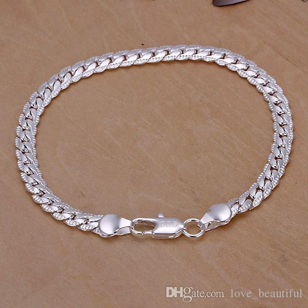 Low price Promotion! Mark 925 Bracelet Men/Boys 925 Sterling Silver Jewelry 5mm 20cm Chains