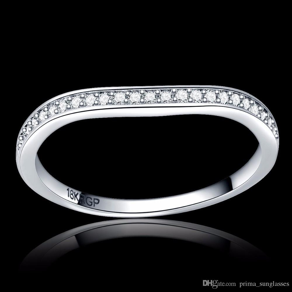 2017 full Clear AAAA zircon stone pave 18K Platinum silver color wave Ring engagement Cocktail wedding alliance for women girls