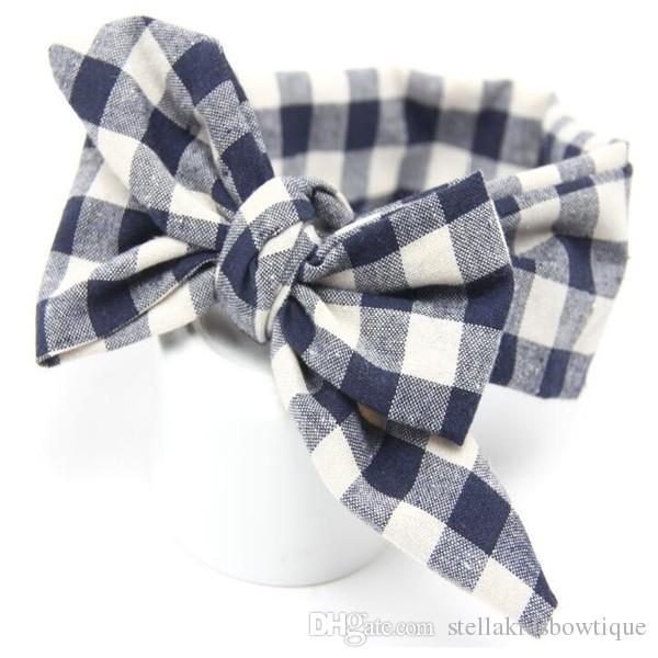 Shabby children's Accessories,Plaid headbands for girls,Navy White kids hair,big bow baby products headband ,toddler birthday headband