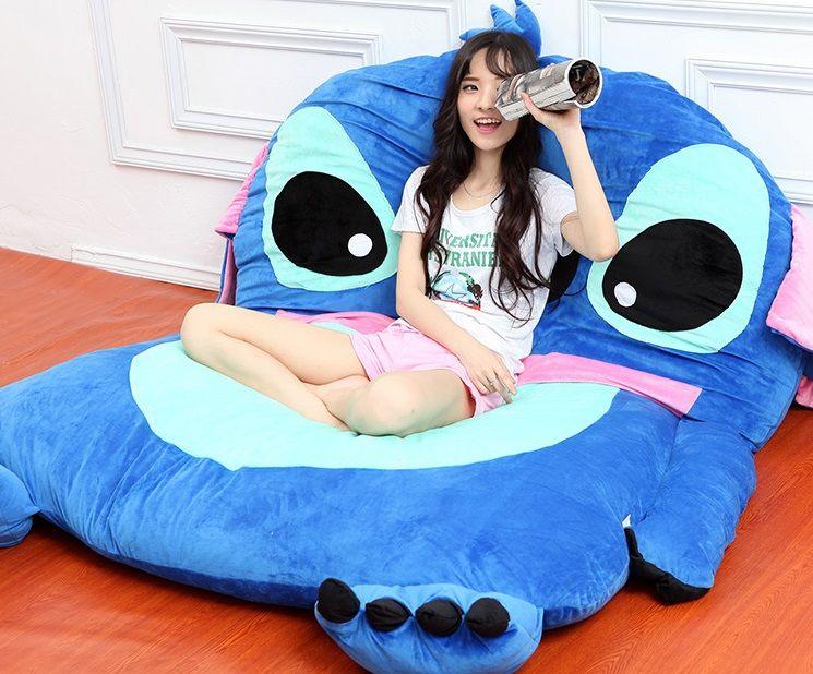 Giant Lilo And Stitch Plush Totoro Double Foam Beanbag Cartoon Mattress  Cushion Plush Pad Tatami Bed