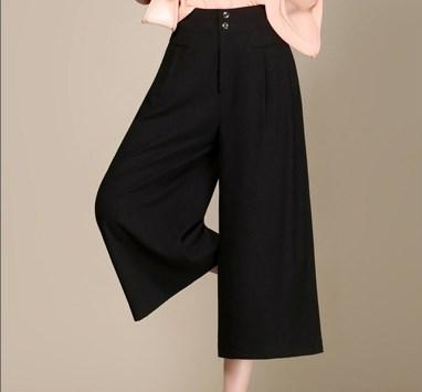 2017 Women Plus Size Casual High Waist Flare Wide Leg Pants Formal ...