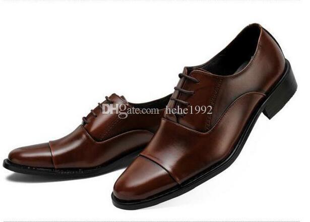Erkek büyük boy iş elbise ayakkabı sivri dantel ayakkabı popüler üç başlıklar XL 38-47 Ücretsiz Kargo