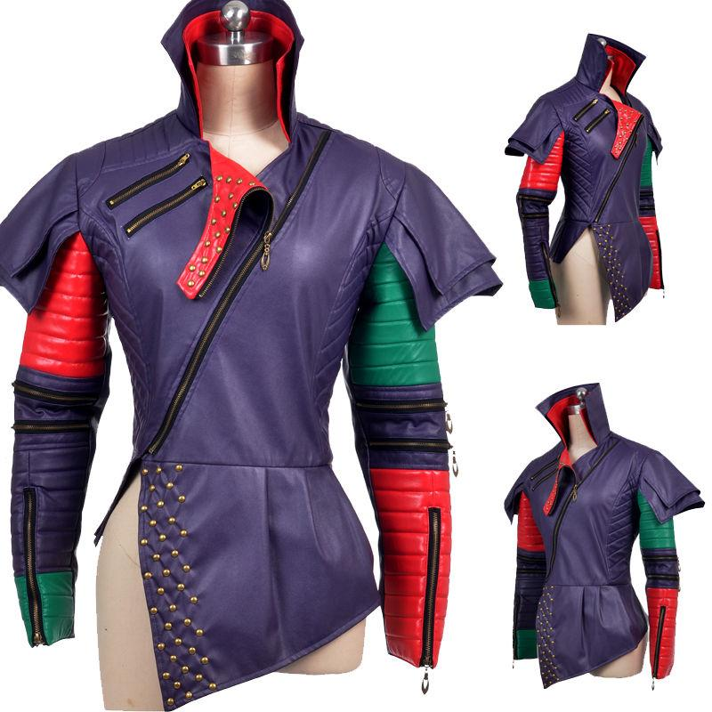 Newest High Quality Arrival Descendants Mal Cosplay Costume Only Jacket Customized Croc Pu Leather Halloween Chrismas