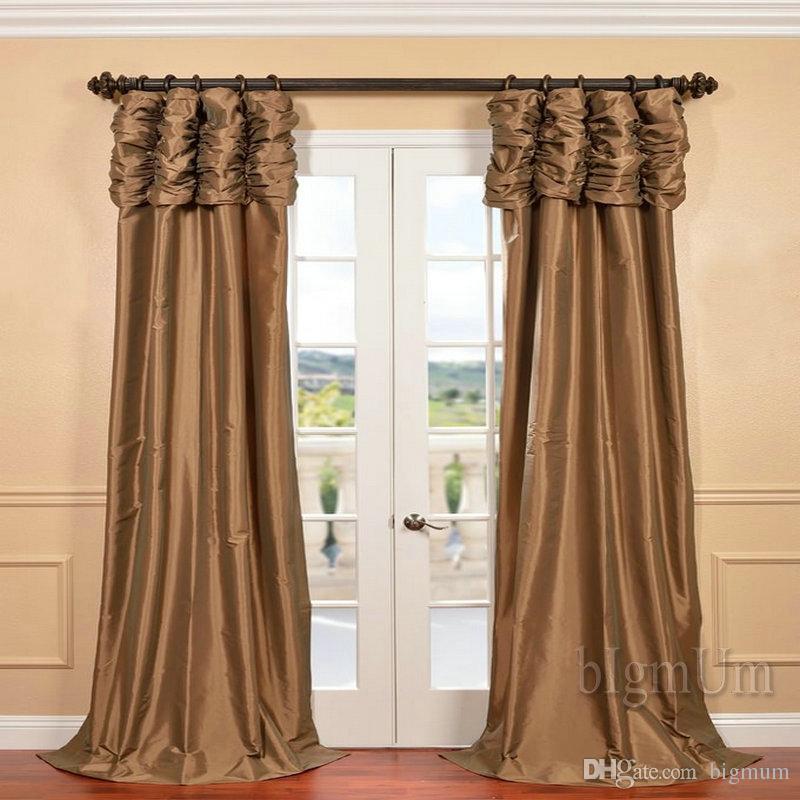 Cenefa cortina de lujo para ventana personalizada Colecciones de tratamiento de ventanas / cortinas para sala de estar / dormitorio Sólido Color Panel