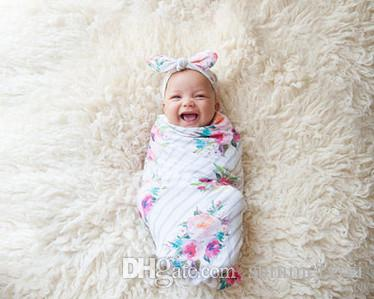 Baby Swaddle Blanket And Rabbit Ear Headband Set Newborn Floral