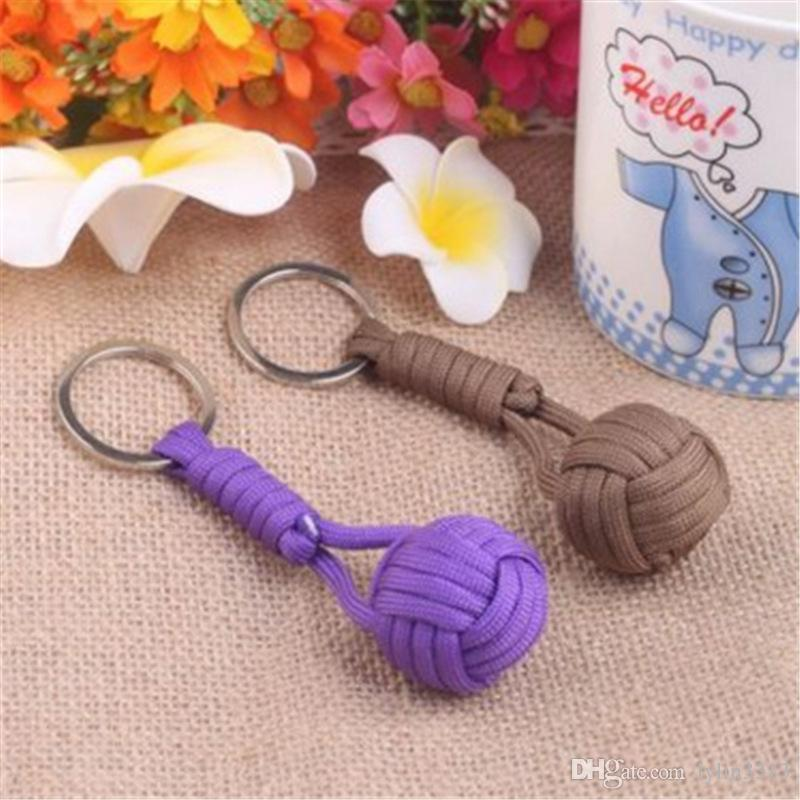 Monkey Fist Knot Key Chains Buckle Self-defense Core Keychain Steel Hot Sale Survival Paracord lanyard Outdoor Travel