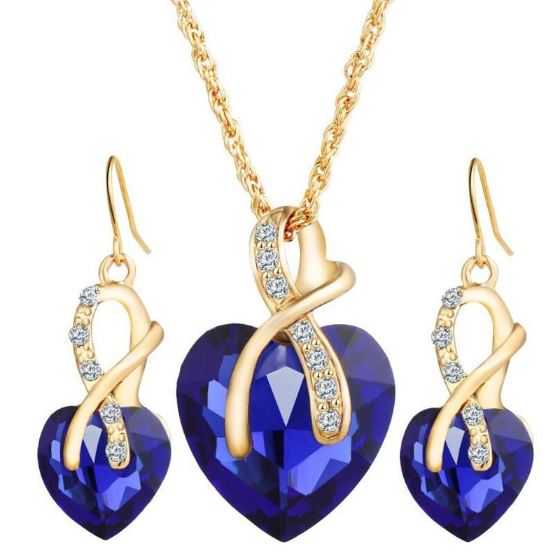 Fashion Heart Necklace Earrings Jewelry Sets For Women Best Gift High Quality Alloy Jewelry Set Min Order NJHS108