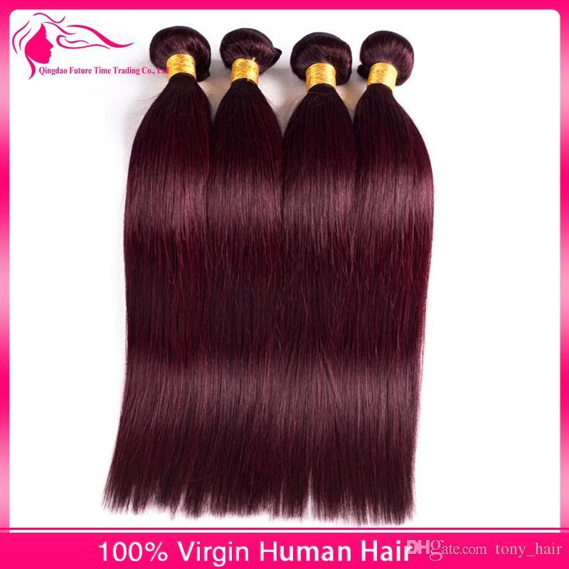 El cabello humano brasileño 99J Wine Red teje extensiones / color puro brasileño sedoso recto borgoña paquetes de cabello humano