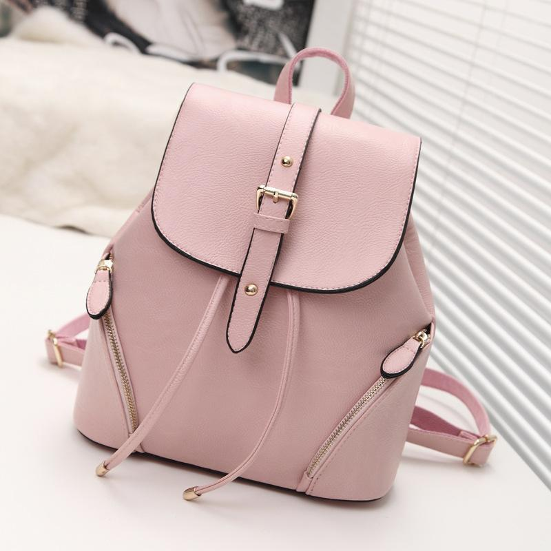 cb22727166cb Preppy Style Backpack New Fashion PU Leather Women Bag Ladies ...