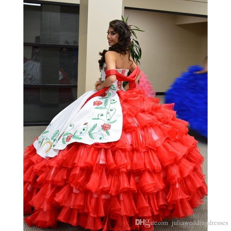 2021 New hite And Red Tiered Draped Embroidery Quinceanera Dresses Ball Gown with Lace-Up Floor Length Prom Party Debutante Sweet 16 Gowns