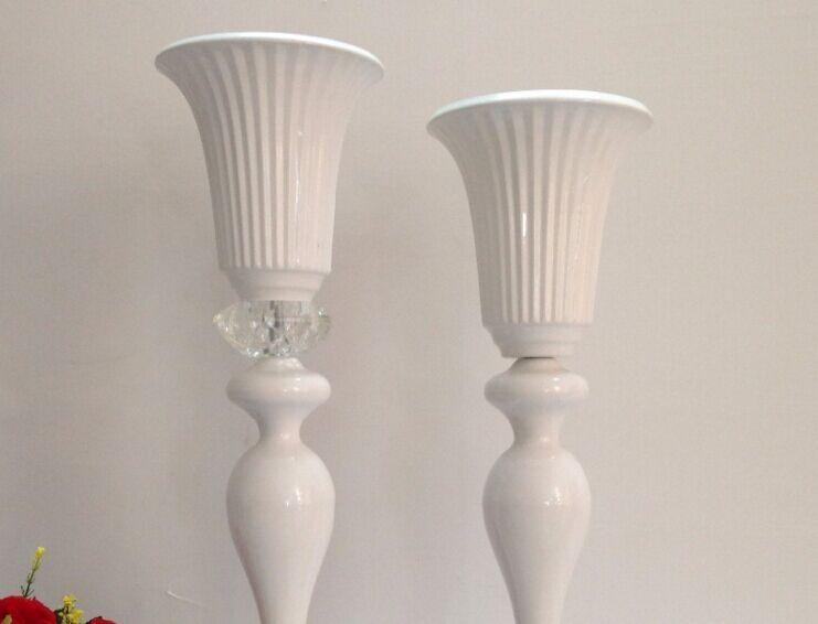 Beyaz Düğün Masa Centerpiece, Çiçek Standı, kristal ile 55 cm H Ziyafet Çiçek Vazo, Düğün Dekorasyon, Masa Centerpiece