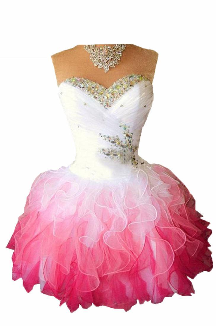 2020 Pink Organza Mini Prom Vestido de regreso de fiesta con cristal con cuentas del hombro encaje hacia arriba vestido de graduación del vestido de cóctel