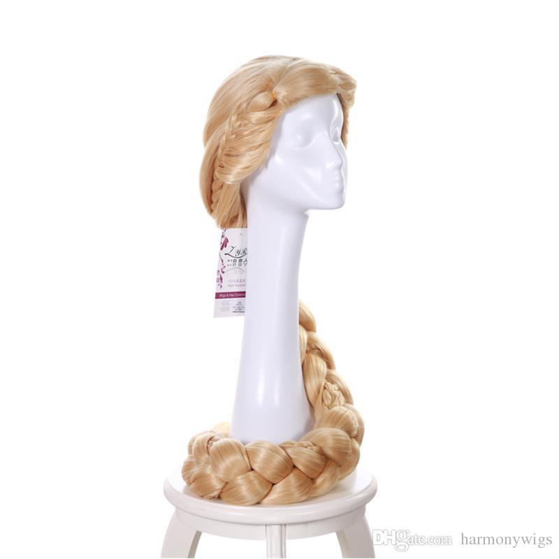 Princesa Rapunzel peluca rubia larga 3X trenza cola de caballo Cosplay fiesta de disfraces peluca 140 CM pelucas de pelo sintético